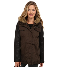 Vince Camuto  - Leather Sleeves Parka Coat