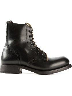 Alexander McQueen  - Zipped Trim Combat Boots