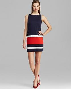 Bailey 44 Dress - Sleeveless Benchwarmer Ponte Color Block Shift
