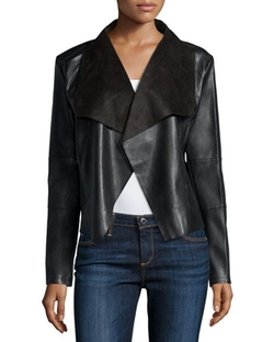 Bagatelle - Long-Sleeve Faux-Leather Draped Jacket