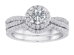 Star K - Topaz Halo Engagement Wedding Set