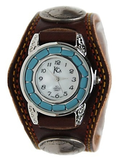 Kc,s Leather Craft - Concho Double Stitch Bracelet Watch