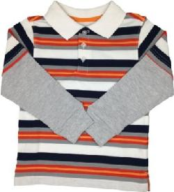 French Toast  - Boys Preppy Stripe Long Sleeves Polo Shirt