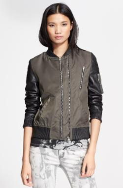 The Kooples  - Leather Sleeve Bomber Jacket