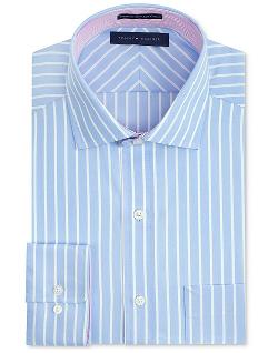 Tommy Hilfiger  - Non-Iron Light Blue Stripe Dress Shirt