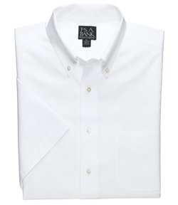 Jos. A. Bank - Traveler Pinpoint Short Sleeve Solid Buttondown Dress Shirt