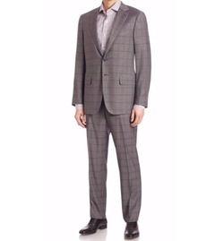 Isaia - Windowpane Check Italian Wool Suit