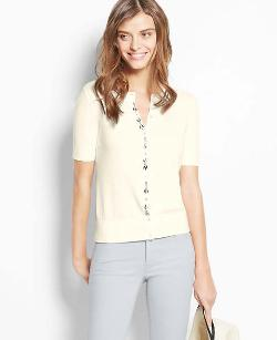 Ann Taylor - Petite Jeweled Short Sleeve Ann Cardigan