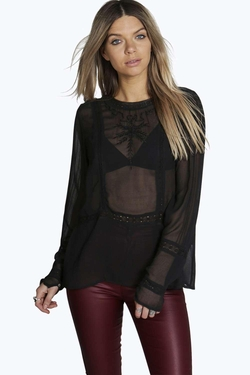 Boohoo - Daisy Embroidered Sheer Blouse