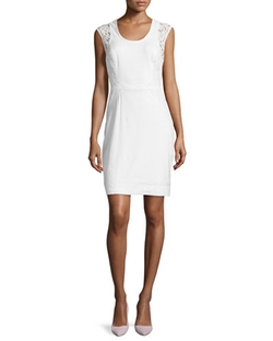 Nicole Miller - Dorian Linen Lace-Panel Sheath Dress