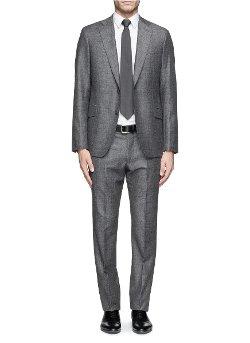 Armani Collezioni   - Windowpane Check Herringbone Wool Suit
