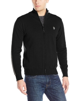 U.S. Polo Assn. - Striped Sleeves Full Zip Sweater