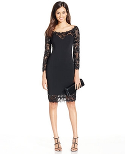 JS Collections - Sequined Lace-Trim Sheath Dress