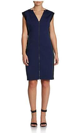 Halston Heritage - Zip Paneled Ponte Dress