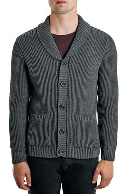 Topman  - Rib Knit Shawl Collar Cardigan