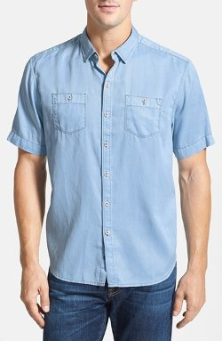 Tommy Bahama Denim - Island Modern Fit Short Sleeve Twill Shirt