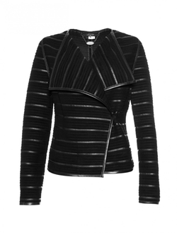 Scoop - Leather Stripe Suede Jacket