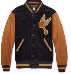 RRL - Wakefield Corduroy And Leather Varsity Jacket