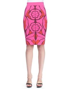 Alexander McQueen   - Flower Jacquard Pencil Skirt