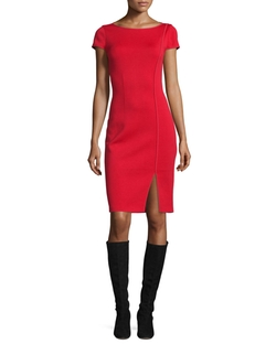 St. John Collection - Milano Boat-Neck Cap-Sleeve Sheath Dress, Russian Red