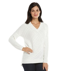 Dana Buchman - Cable-Knit V-Neck Sweater