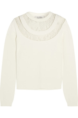 Valentino - Lace-Paneled Knitted Sweater