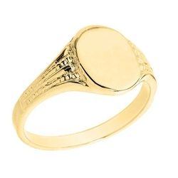 Amazon - Textured Band Engravable Oval Face Signet Ring