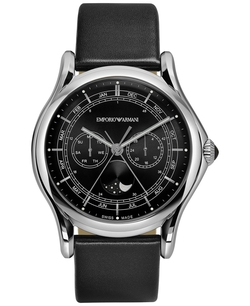 Emporio Armani - Swiss Moon Phase Leather Strap Watch