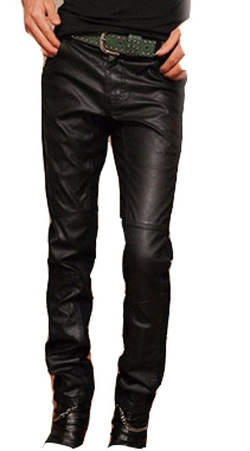 Fengbay - Leather Stitching Pants