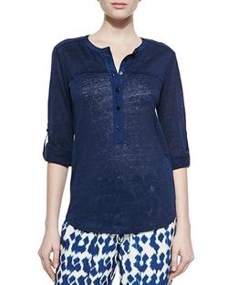 Vince  - Long-Sleeve Slub Henley T-Shirt
