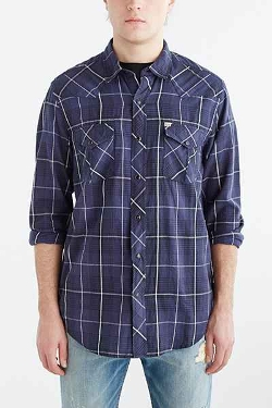 Urban Outfitters - Salt Valley Western Plaid Button-Down Shirt