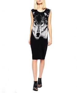 Street Fashion  - Wolf Print Black Tank Dress