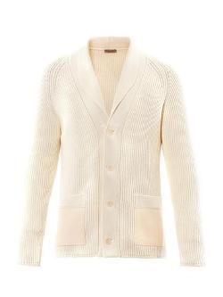 Bottega Veneta  - Ribbed-knit Shawl-collar Cardigan