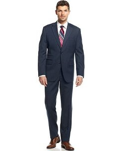 Perry Ellis - Comfort-Stretch Texture Navy Suit