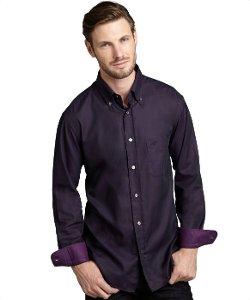 Brioni - Purple Cotton Chest Pocket Button Down Shirt