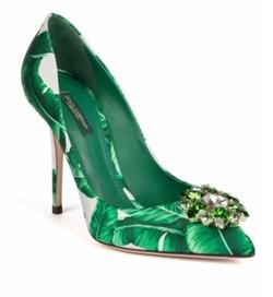 Dolce & Gabbana - Banana Leaf Printed Leather Pumps