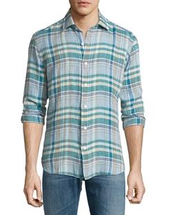 Culturata  - Plaid Long-Sleeve Linen Sport Shirt