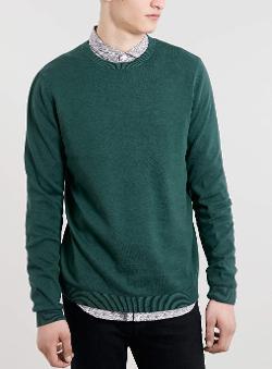 Topman - Green Crew Neck Sweater
