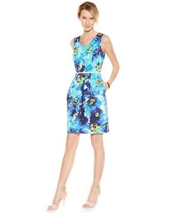 Ellen Tracy - Floral-Print Sheath Dress