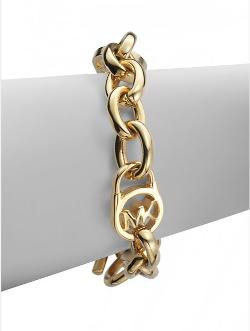 Michael Kors  - Logo Lock Chain Link Bracelet/Goldtone