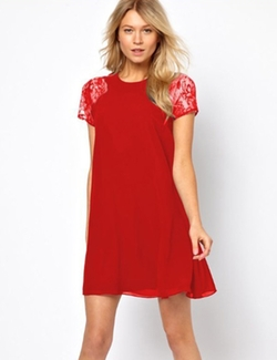 ROMWE - Red Lace Short Sleeve Chiffon Dress