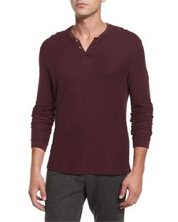 ATM - Long-Sleeve Pique Henley Shirt