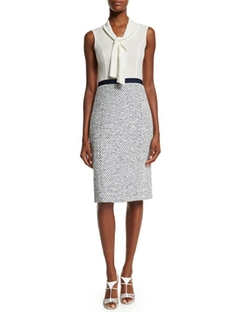 Oscar de la Renta - Sleeveless Tie-Neck Combo Sheath Dress
