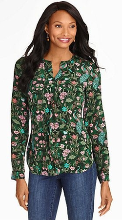 Talbots - Washable Silk Peacock Print Pintuck-Front Blouse
