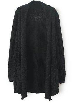 Sheinside - Long Sleeve Pockets Loose Cardigan Sweater