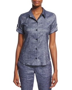 Theory - Pauleen Tierra Washed Denim Top