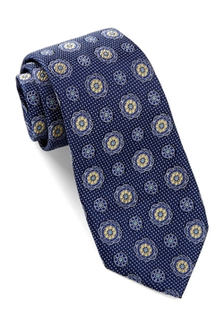 Alara - Silk Textured Floral Medallion Tie