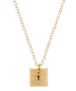 Anna Bee Jewelry - Square Mini Initial Necklace