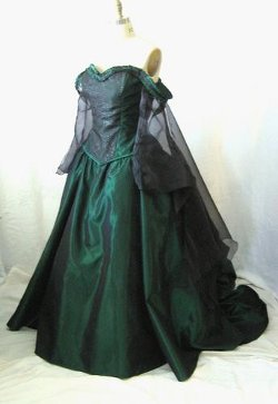 ArtFire - Green Victorian Bustle Steampunk Fantasy Wedding Bridal Gown