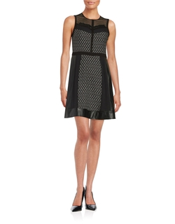 Rachel Roy  - Patterned Faux Leather Accented Dress